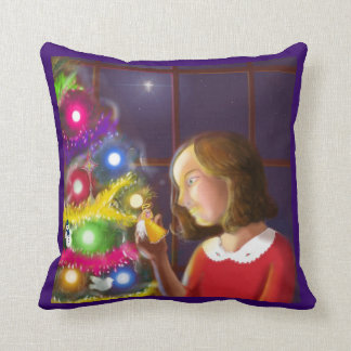 The Girl & the Angel of the Tree Throw Pillow