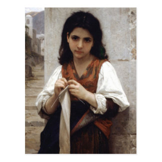 The girl who does knitting postcard