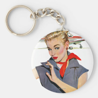 The Girl Who Stole Airplanes Basic Round Button Key Ring