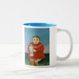 The girl with a doll - Henri Rousseau Two-Tone Mug