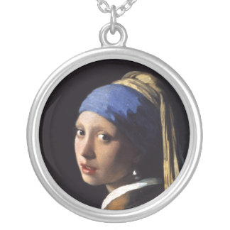 The Girl With A Pearl Earring by Johannes Vermeer Silver Plated Necklace