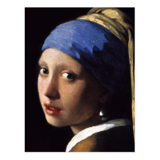 The Girl With A Pearl Earring in detail close up Postcard