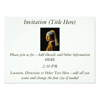 The Girl with a Turban/Girl with the Pearl Earring 14 Cm X 19 Cm Invitation Card
