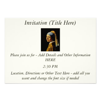 The Girl with a Turban Girl with the Pearl Earring Personalized Invitation