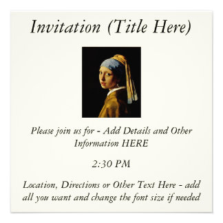 The Girl with a Turban Girl with the Pearl Earring Custom Invites