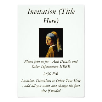 The Girl with a Turban/Girl with the Pearl Earring 11 Cm X 16 Cm Invitation Card