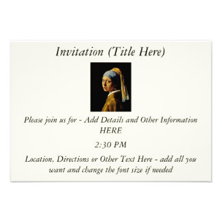 The Girl with a Turban Girl with the Pearl Earring Personalized Invite