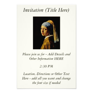 The Girl with a Turban Girl with the Pearl Earring Invitations
