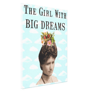 The Girl With Big Dreams Vintage Photo Collage Canvas Print
