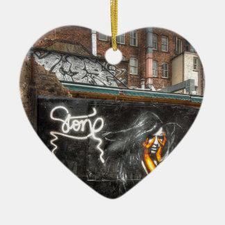 The Girl with Orange Gloves, Shoreditch Graffiti Ceramic Heart Decoration