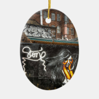 The Girl with Orange Gloves, Shoreditch Graffiti Christmas Ornament