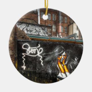 The Girl with Orange Gloves, Shoreditch Graffiti Christmas Ornament