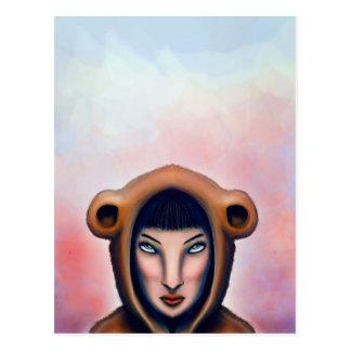the girl with the bear pajamas postcard