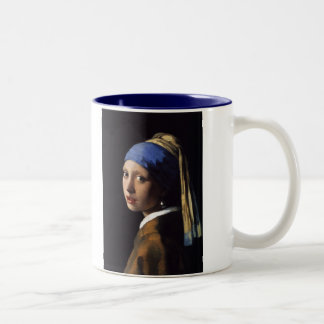 The Girl With The Pearl Earring by Vermeer Two-Tone Coffee Mug