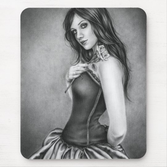 The girl with the rose Mousepad