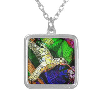 The Glass HummingBird Silver Plated Necklace