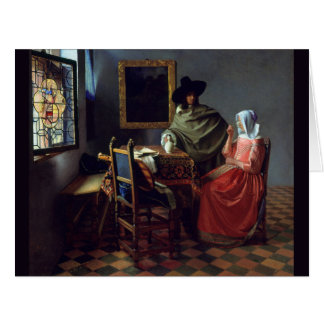 The Glass of Wine by Johannes Vermeer Large Greeting Card