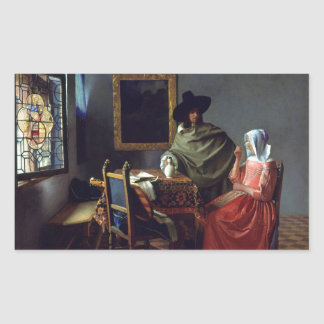 The Glass of Wine by Johannes Vermeer Rectangular Sticker