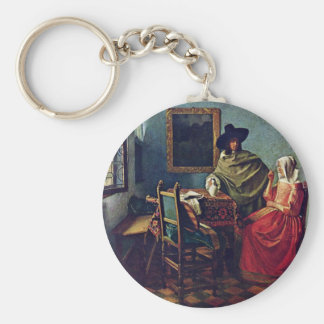 The Glass Of Wine Title Of The Gemäldegalerie In B Basic Round Button Key Ring