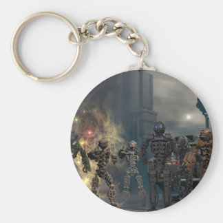 the glorious seven robots b basic round button key ring