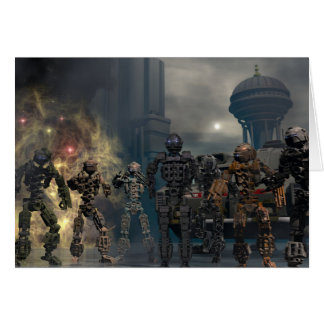 the glorious seven robots b greeting card