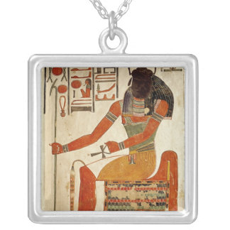 The god, Khepri, from the Tomb of Nefertari Silver Plated Necklace