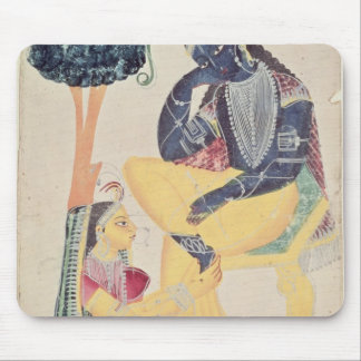The God Krishna with his mortal love, Radha Mouse Pad