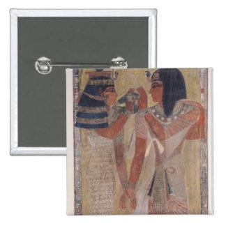 The Goddess Hathor placing the magic collar 15 Cm Square Badge