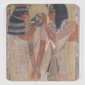 The Goddess Hathor placing the magic collar Square Sticker