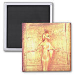 The goddess Selket on the canopic shrine Square Magnet