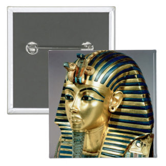 The gold funerary mask, from tomb of Tutankhamun 15 Cm Square Badge