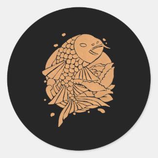 The Gold Koi Fish Classic Round Sticker