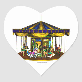 The Golden Carousel Heart-Shaped Stickers