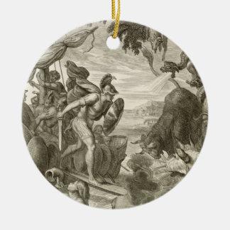 The Golden Fleece Won by Jason (engraving) Round Ceramic Decoration
