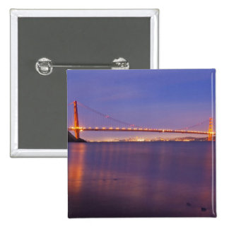 The Golden Gate Bridge at dusk from Kirby Cove 15 Cm Square Badge
