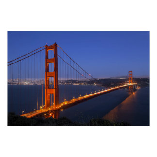 The Golden Gate Bridge at dusk Posters