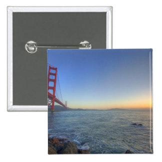The Golden Gate Bridge at sunrise from Fort 15 Cm Square Badge