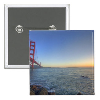 The Golden Gate Bridge at sunrise from Fort 15 Cm Square Badge
