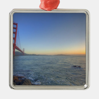 The Golden Gate Bridge at sunrise from Fort Silver-Colored Square Decoration