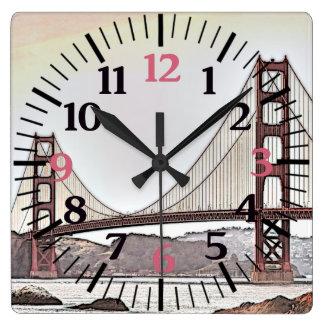 The Golden Gate Bridge - San Francisco, CA (pink) Square Wall Clock