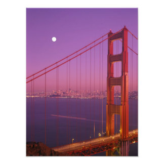 The Golden Gate Bridge shortly after sunset, Photo Print