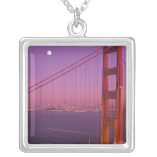 The Golden Gate Bridge shortly after sunset, Silver Plated Necklace