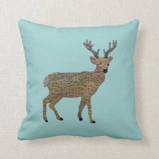 The Golden Reindeer Decorative Pillow