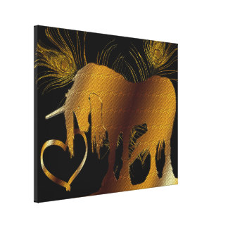 The Golden Unicorn (black) Wrapped Canvas Stretched Canvas Print