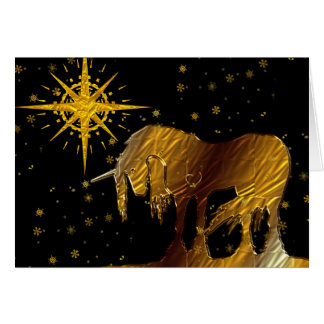 The Golden Unicorn Star (black background) Card