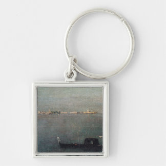 The Gondola on the Lagoon Silver-Colored Square Key Ring