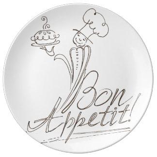 The Good Chef says Bon Appetit! Porcelain Plates