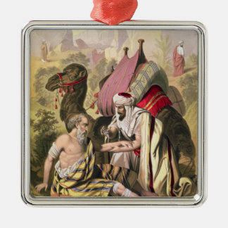 The Good Samaritan, from a bible printed by Edward Silver-Colored Square Decoration