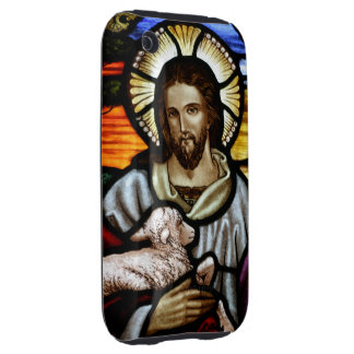 The Good Shepherd; Jesus on stained glass Tough iPhone 3 Covers