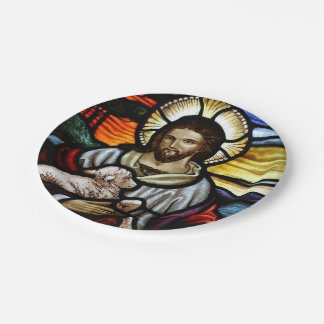 The Good Shepherd; Jesus on stained glass Paper Plate